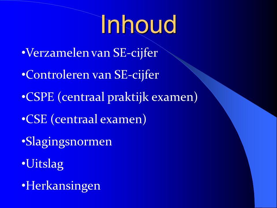 Inhoud Verzamelen van SE-cijfer Controleren van SE-cijfer CSPE (centraal praktijk examen) CSE (centraal examen) Slagingsnormen Uitslag Herkansingen