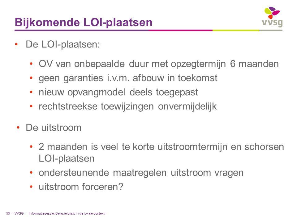 VVSG - Bijkomende LOI-plaatsen 33 - De LOI-plaatsen: OV van onbepaalde duur met opzegtermijn 6 maanden geen garanties i.v.m.