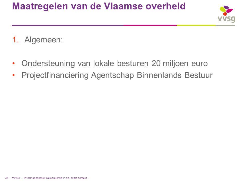 VVSG - Maatregelen van de Vlaamse overheid 1.Algemeen: Ondersteuning van lokale besturen 20 miljoen euro Projectfinanciering Agentschap Binnenlands Bestuur Informatiesessie: De asielcrisis in de lokale context38 -