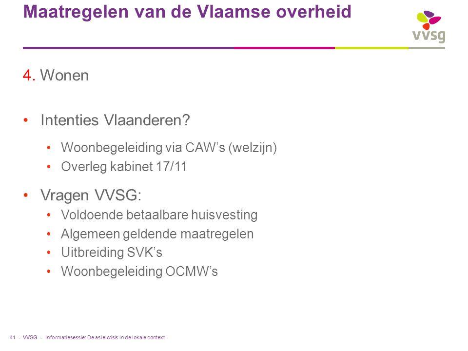 VVSG - Maatregelen van de Vlaamse overheid 4. Wonen Intenties Vlaanderen.