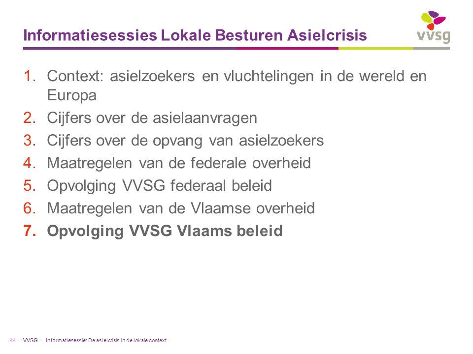 VVSG - Informatiesessies Lokale Besturen Asielcrisis 1.Context: asielzoekers en vluchtelingen in de wereld en Europa 2.Cijfers over de asielaanvragen 3.Cijfers over de opvang van asielzoekers 4.Maatregelen van de federale overheid 5.Opvolging VVSG federaal beleid 6.Maatregelen van de Vlaamse overheid 7.Opvolging VVSG Vlaams beleid 44 -Informatiesessie: De asielcrisis in de lokale context