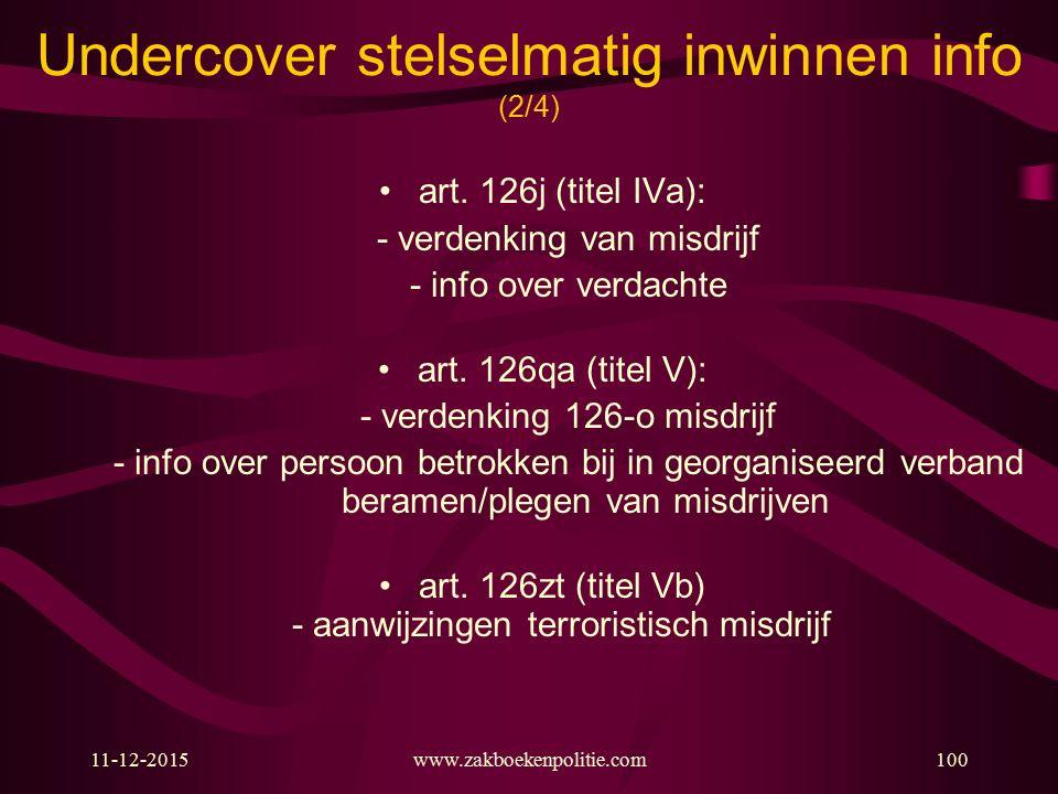 11-12-2015www.zakboekenpolitie.com100 Undercover stelselmatig inwinnen info (2/4) art. 126j (titel IVa): - verdenking van misdrijf - info over verdach