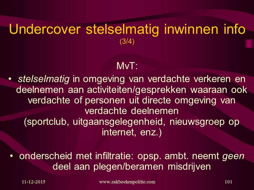 11-12-2015www.zakboekenpolitie.com101 Undercover stelselmatig inwinnen info (3/4) MvT: stelselmatig in omgeving van verdachte verkeren en deelnemen aa