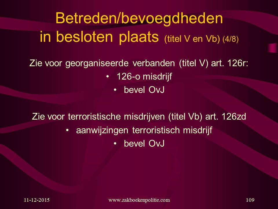 11-12-2015www.zakboekenpolitie.com109 Betreden/bevoegdheden in besloten plaats (titel V en Vb) (4/8) Zie voor georganiseerde verbanden (titel V) art.