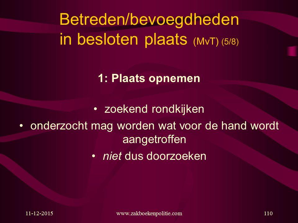 11-12-2015www.zakboekenpolitie.com110 Betreden/bevoegdheden in besloten plaats (MvT) (5/8) 1: Plaats opnemen zoekend rondkijken onderzocht mag worden