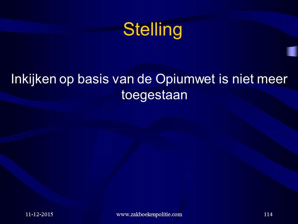 11-12-2015www.zakboekenpolitie.com114 Stelling Inkijken op basis van de Opiumwet is niet meer toegestaan