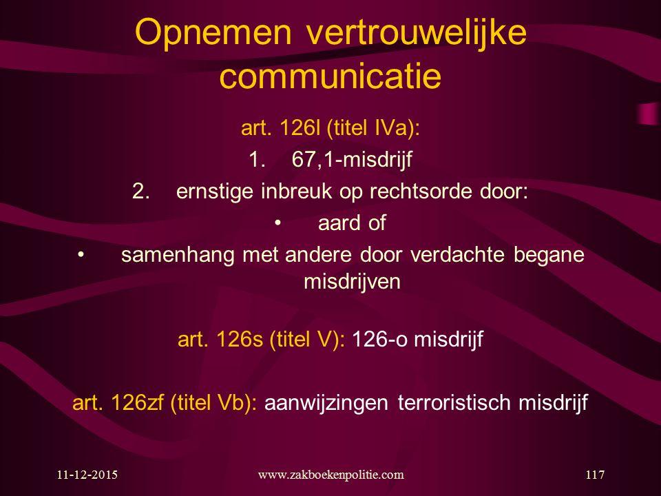 11-12-2015www.zakboekenpolitie.com117 Opnemen vertrouwelijke communicatie art. 126l (titel IVa): 1.67,1-misdrijf 2.ernstige inbreuk op rechtsorde door