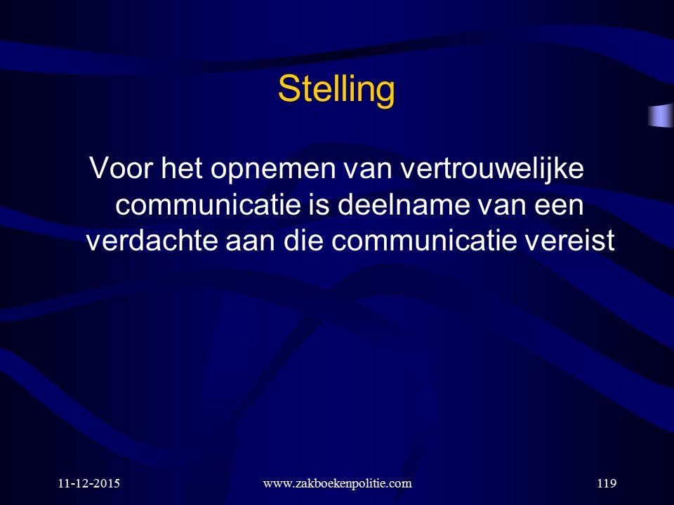 11-12-2015www.zakboekenpolitie.com119 Stelling Voor het opnemen van vertrouwelijke communicatie is deelname van een verdachte aan die communicatie ver
