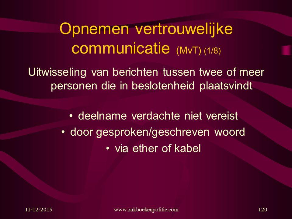 11-12-2015www.zakboekenpolitie.com120 Opnemen vertrouwelijke communicatie (MvT) (1/8) Uitwisseling van berichten tussen twee of meer personen die in b