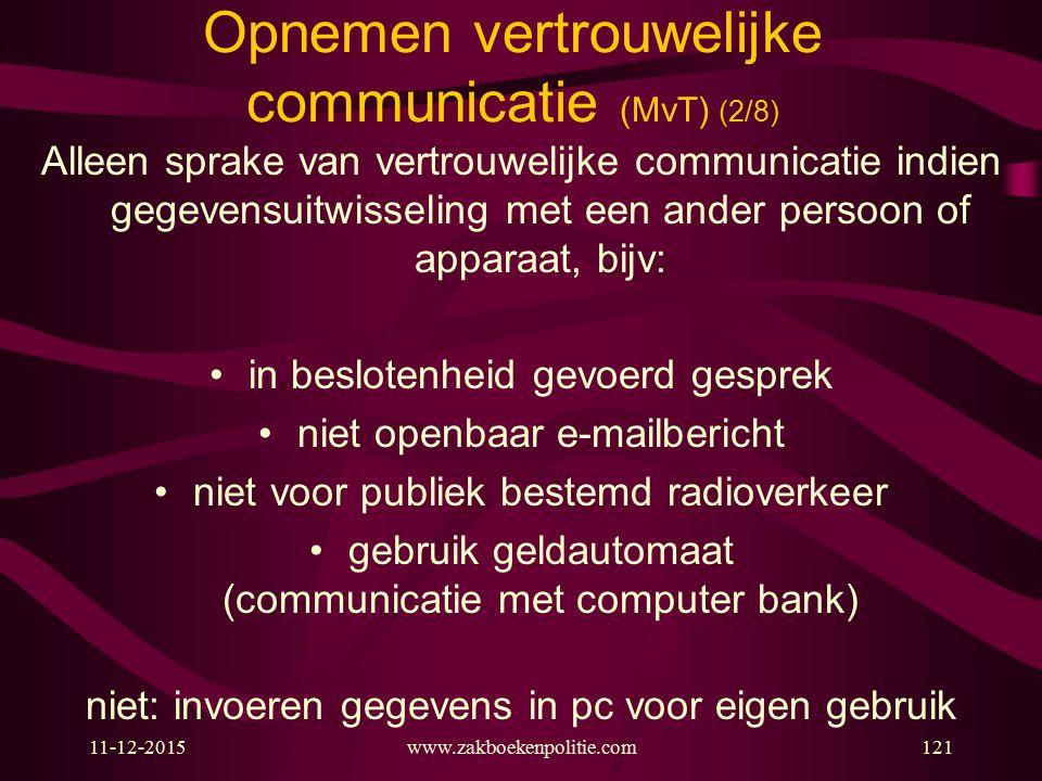 11-12-2015www.zakboekenpolitie.com121 Opnemen vertrouwelijke communicatie (MvT) (2/8) Alleen sprake van vertrouwelijke communicatie indien gegevensuit