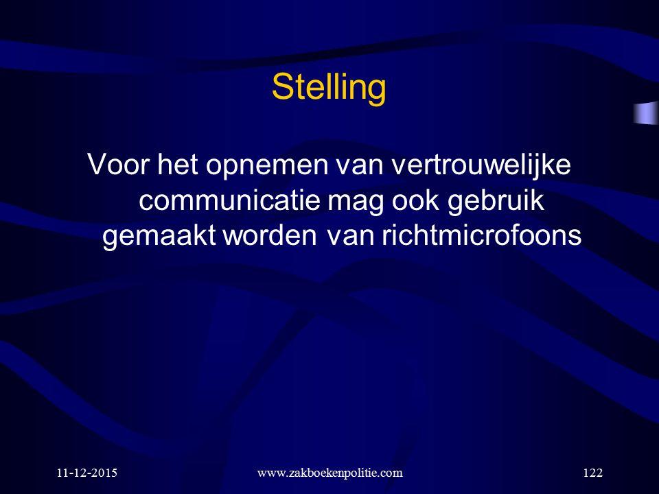 11-12-2015www.zakboekenpolitie.com122 Stelling Voor het opnemen van vertrouwelijke communicatie mag ook gebruik gemaakt worden van richtmicrofoons