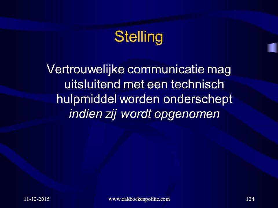 11-12-2015www.zakboekenpolitie.com124 Stelling Vertrouwelijke communicatie mag uitsluitend met een technisch hulpmiddel worden onderschept indien zij
