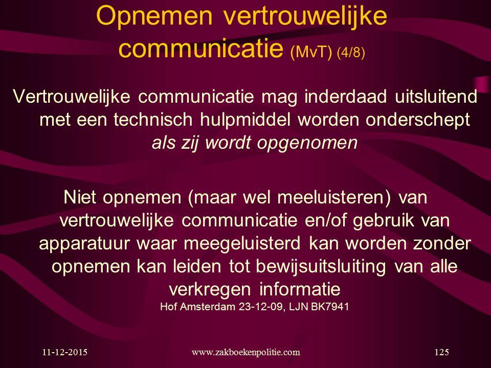 11-12-2015www.zakboekenpolitie.com125 Opnemen vertrouwelijke communicatie (MvT) (4/8) Vertrouwelijke communicatie mag inderdaad uitsluitend met een te