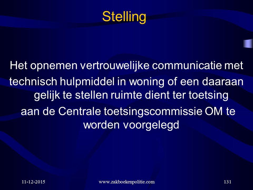 11-12-2015www.zakboekenpolitie.com131 Stelling Het opnemen vertrouwelijke communicatie met technisch hulpmiddel in woning of een daaraan gelijk te ste