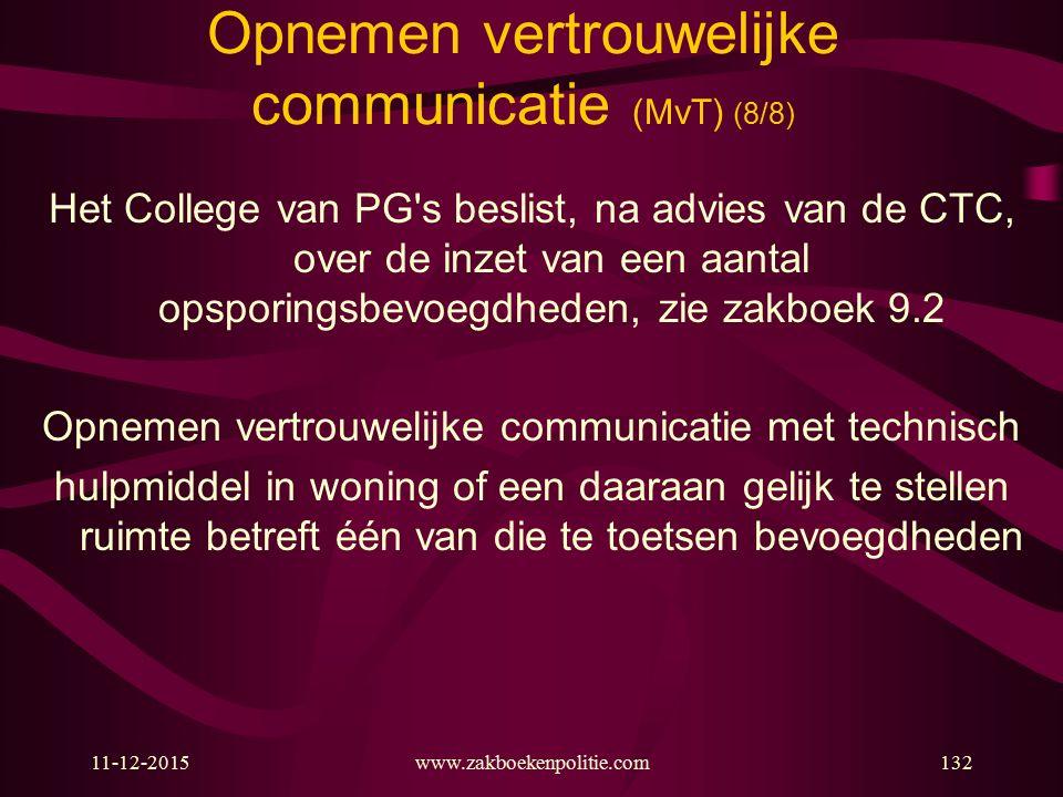 11-12-2015www.zakboekenpolitie.com132 Opnemen vertrouwelijke communicatie (MvT) (8/8) Het College van PG's beslist, na advies van de CTC, over de inze