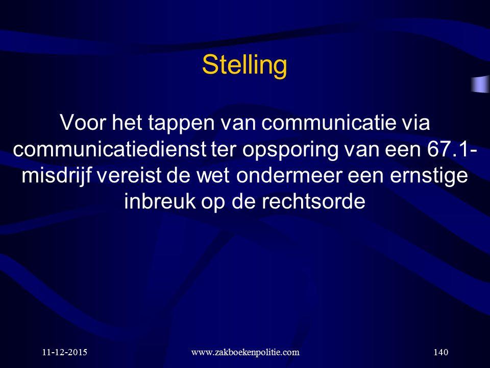 11-12-2015www.zakboekenpolitie.com140 Stelling Voor het tappen van communicatie via communicatiedienst ter opsporing van een 67.1- misdrijf vereist de