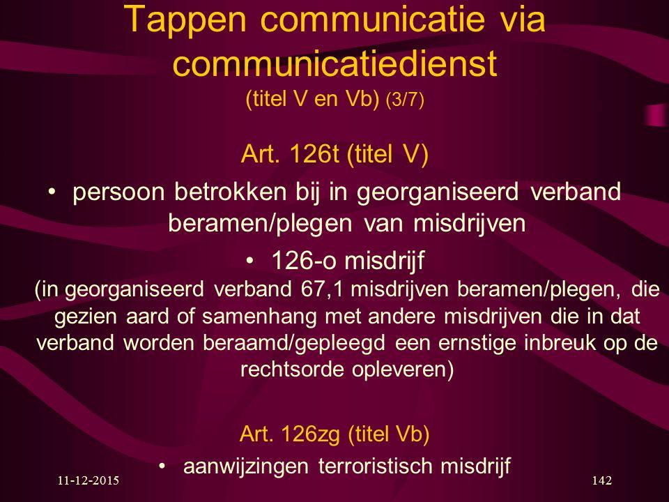 11-12-2015142 Tappen communicatie via communicatiedienst (titel V en Vb) (3/7) Art. 126t (titel V) persoon betrokken bij in georganiseerd verband bera