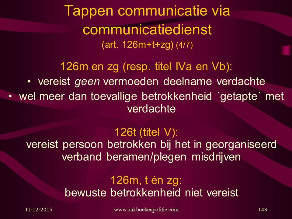 11-12-2015www.zakboekenpolitie.com143 Tappen communicatie via communicatiedienst (art. 126m+t+zg) (4/7) 126m en zg (resp. titel IVa en Vb): vereist ge