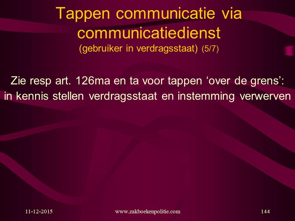 11-12-2015www.zakboekenpolitie.com144 Tappen communicatie via communicatiedienst (gebruiker in verdragsstaat) (5/7) Zie resp art. 126ma en ta voor tap
