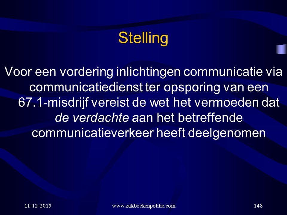 11-12-2015www.zakboekenpolitie.com148 Stelling Voor een vordering inlichtingen communicatie via communicatiedienst ter opsporing van een 67.1-misdrijf