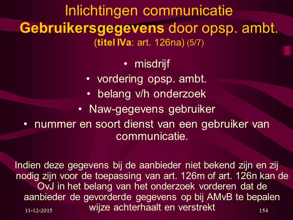 11-12-2015154 Inlichtingen communicatie Gebruikersgegevens door opsp. ambt. (titel IVa: art. 126na) (5/7) misdrijf vordering opsp. ambt. belang v/h on