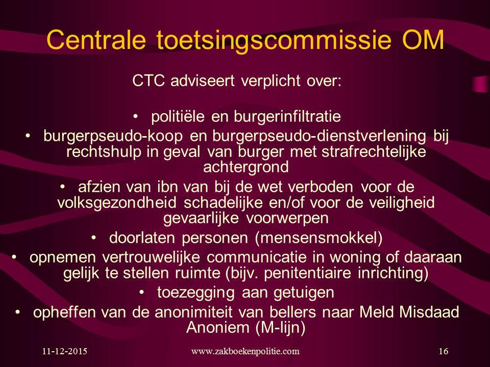 11-12-2015www.zakboekenpolitie.com16 Centrale toetsingscommissie OM CTC adviseert verplicht over: politiële en burgerinfiltratie burgerpseudo-koop en