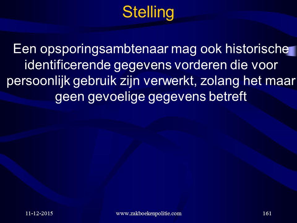 11-12-2015www.zakboekenpolitie.com161 Stelling Een opsporingsambtenaar mag ook historische identificerende gegevens vorderen die voor persoonlijk gebr