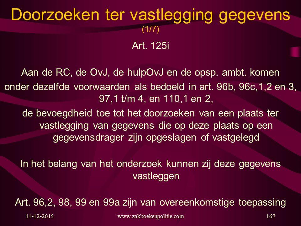 11-12-2015www.zakboekenpolitie.com167 Doorzoeken ter vastlegging gegevens (1/7) Art. 125i Aan de RC, de OvJ, de hulpOvJ en de opsp. ambt. komen onder