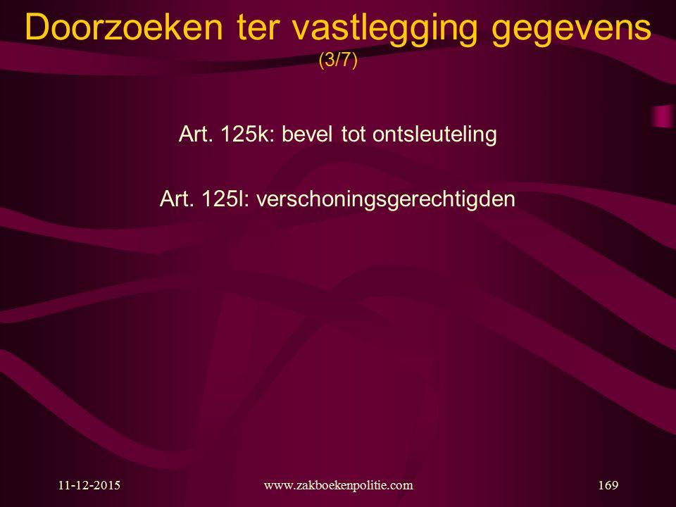 11-12-2015www.zakboekenpolitie.com169 Doorzoeken ter vastlegging gegevens (3/7) Art. 125k: bevel tot ontsleuteling Art. 125l: verschoningsgerechtigden