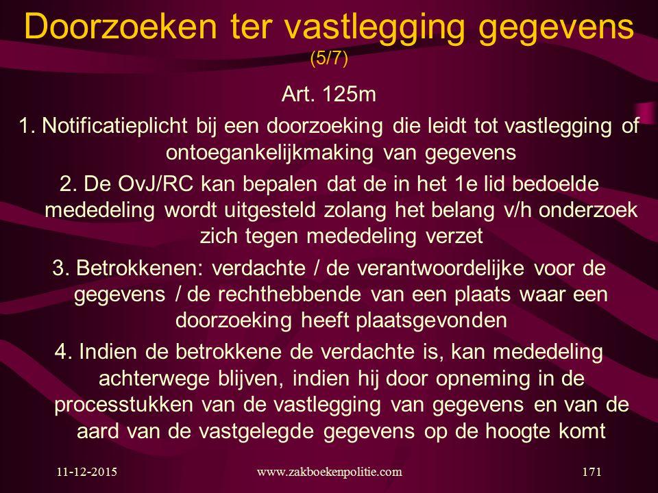 11-12-2015www.zakboekenpolitie.com171 Doorzoeken ter vastlegging gegevens (5/7) Art. 125m 1. Notificatieplicht bij een doorzoeking die leidt tot vastl