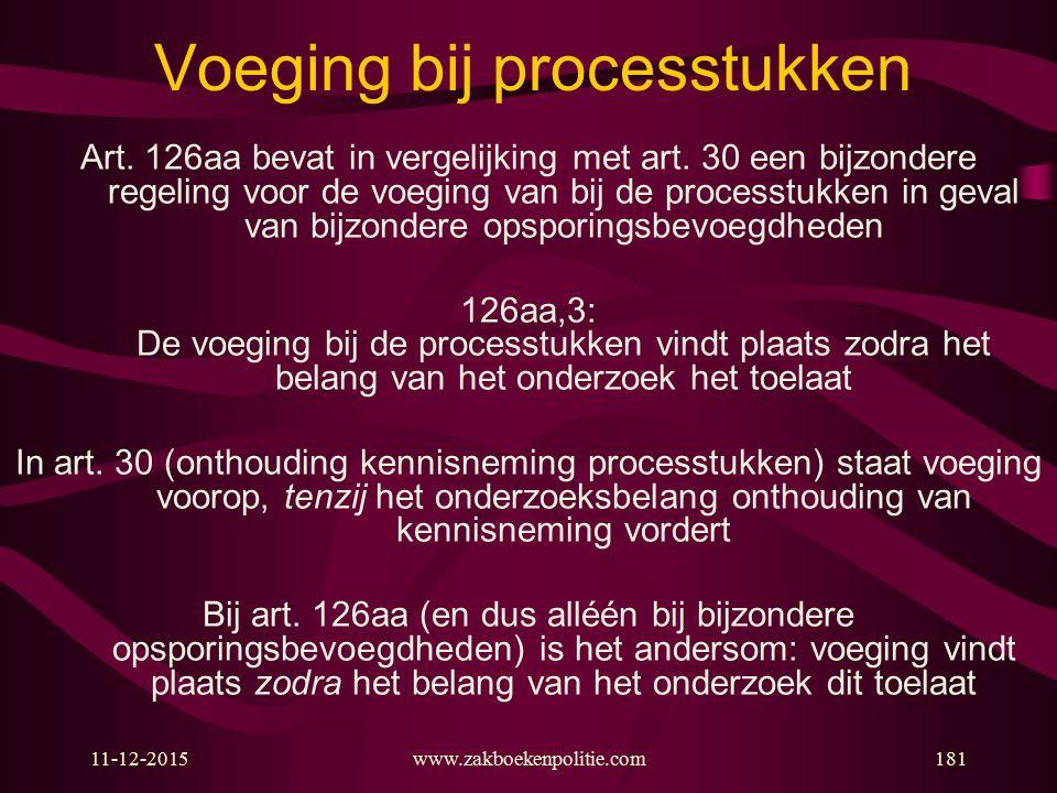 11-12-2015www.zakboekenpolitie.com181 Voeging bij processtukken Art. 126aa bevat in vergelijking met art. 30 een bijzondere regeling voor de voeging v