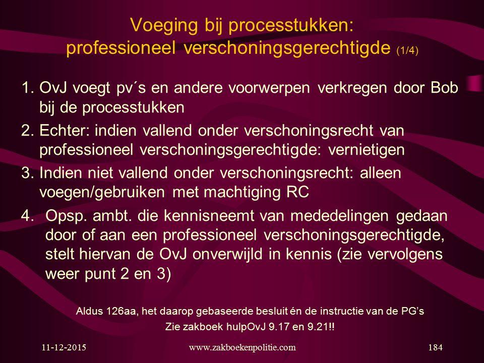 11-12-2015www.zakboekenpolitie.com184 Voeging bij processtukken: professioneel verschoningsgerechtigde (1/4) 1. OvJ voegt pv´s en andere voorwerpen ve