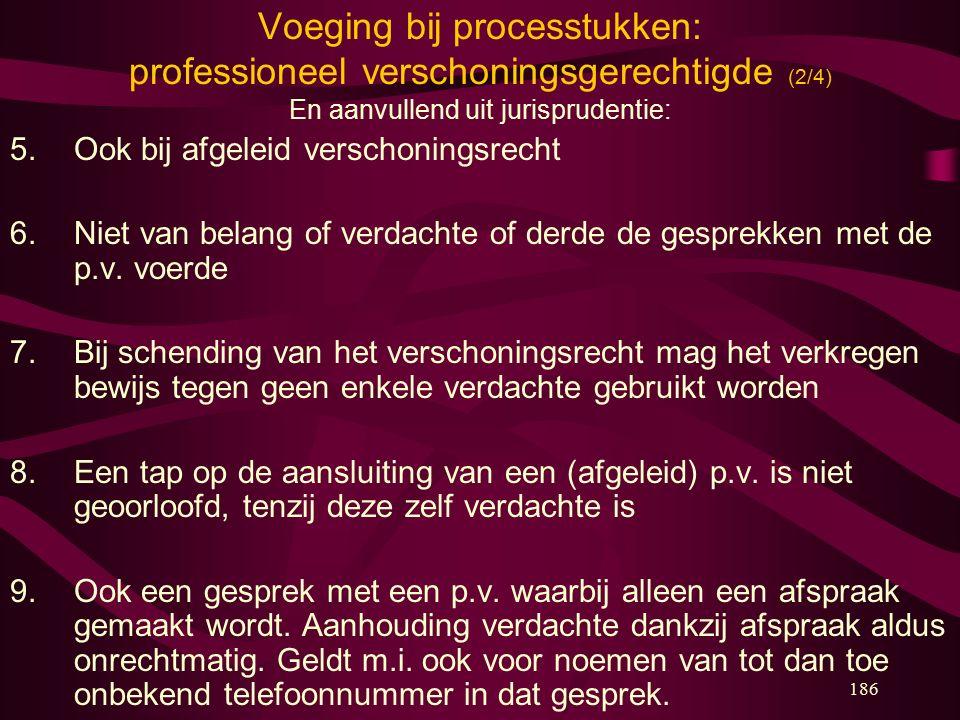 186 Voeging bij processtukken: professioneel verschoningsgerechtigde (2/4) En aanvullend uit jurisprudentie: 5. Ook bij afgeleid verschoningsrecht 6.