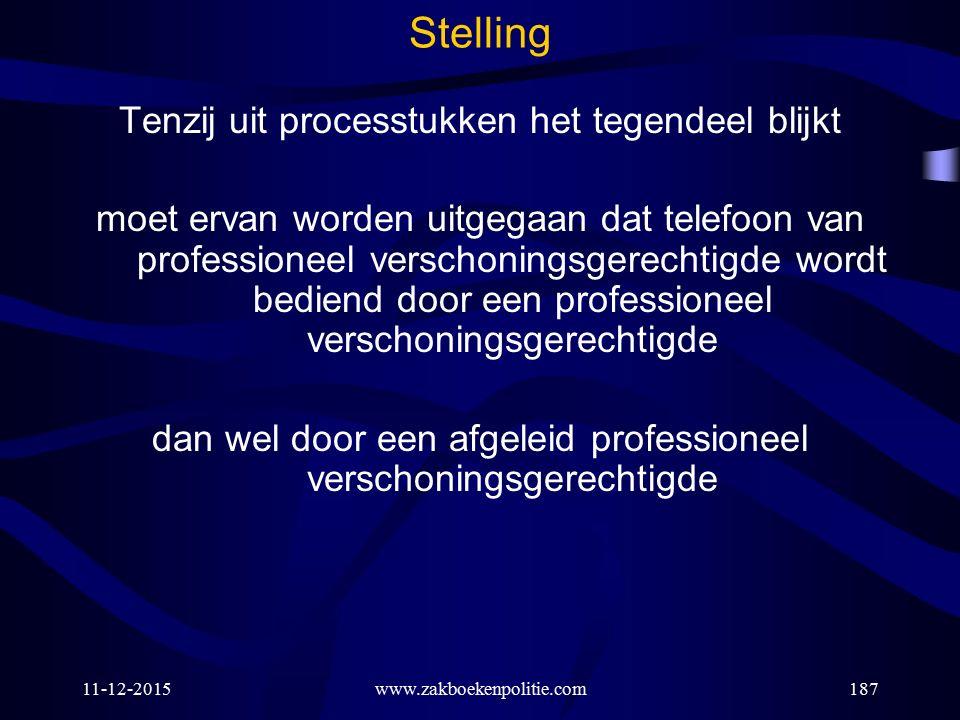 11-12-2015www.zakboekenpolitie.com187 Stelling Tenzij uit processtukken het tegendeel blijkt moet ervan worden uitgegaan dat telefoon van professionee