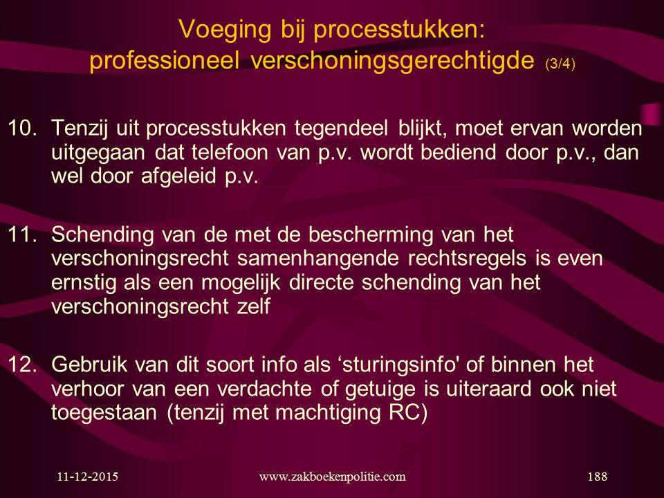11-12-2015www.zakboekenpolitie.com188 Voeging bij processtukken: professioneel verschoningsgerechtigde (3/4) 10.Tenzij uit processtukken tegendeel bli