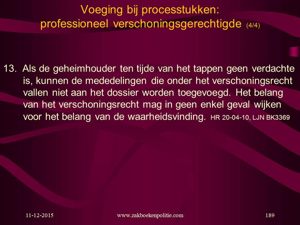 11-12-2015www.zakboekenpolitie.com189 Voeging bij processtukken: professioneel verschoningsgerechtigde (4/4) 13. Als de geheimhouder ten tijde van het