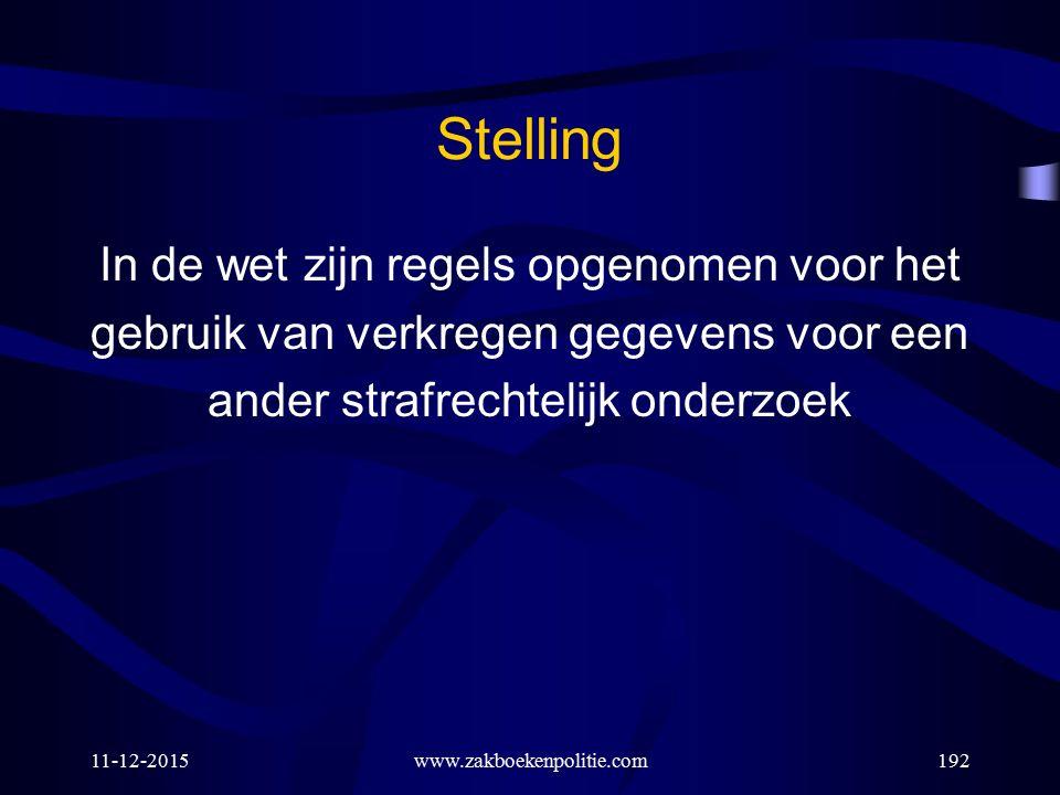 11-12-2015www.zakboekenpolitie.com192 Stelling In de wet zijn regels opgenomen voor het gebruik van verkregen gegevens voor een ander strafrechtelijk