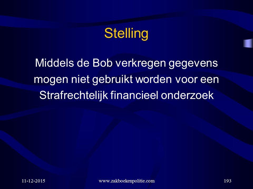 11-12-2015www.zakboekenpolitie.com193 Stelling Middels de Bob verkregen gegevens mogen niet gebruikt worden voor een Strafrechtelijk financieel onderz