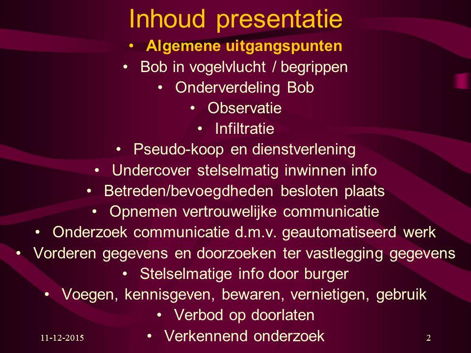 11-12-20152 Inhoud presentatie Algemene uitgangspunten Bob in vogelvlucht / begrippen Onderverdeling Bob Observatie Infiltratie Pseudo-koop en dienstv