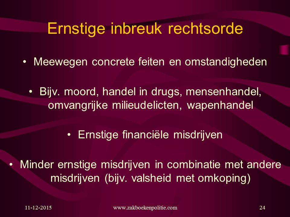11-12-2015www.zakboekenpolitie.com24 Ernstige inbreuk rechtsorde Meewegen concrete feiten en omstandigheden Bijv. moord, handel in drugs, mensenhandel