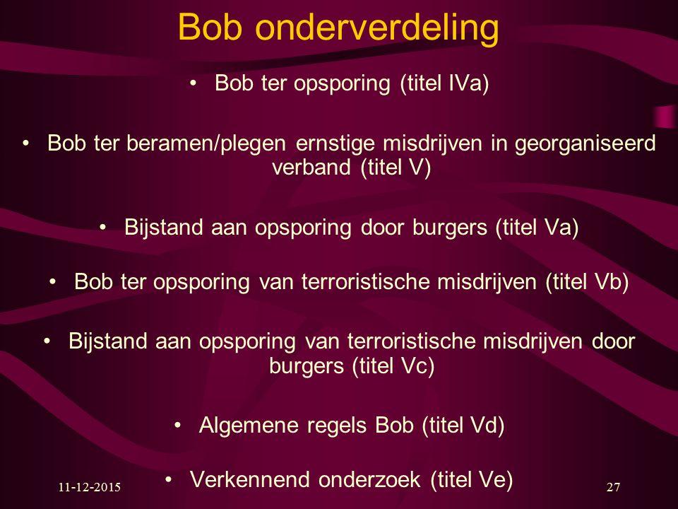 11-12-201527 Bob onderverdeling Bob ter opsporing (titel IVa) Bob ter beramen/plegen ernstige misdrijven in georganiseerd verband (titel V) Bijstand a