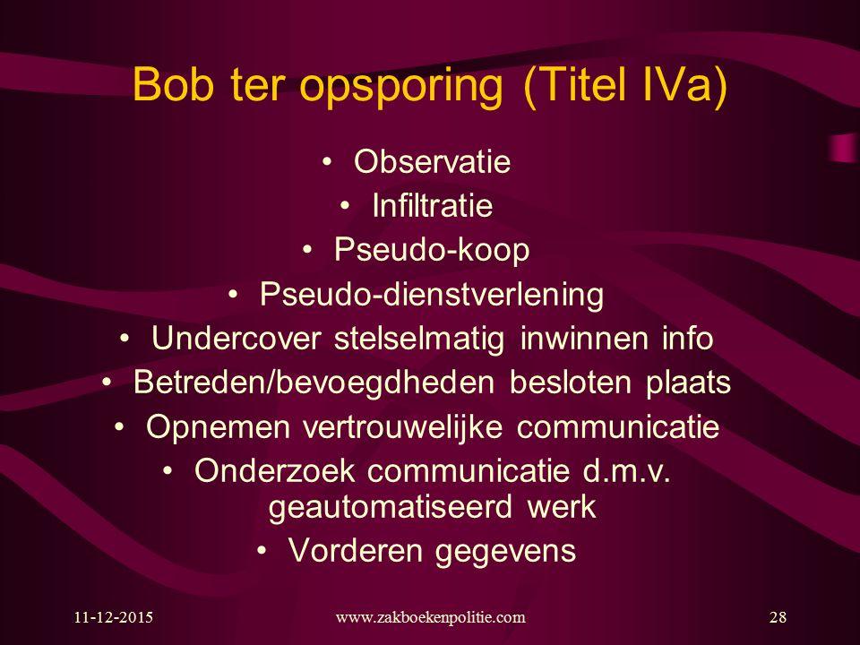 11-12-2015www.zakboekenpolitie.com28 Bob ter opsporing (Titel IVa) Observatie Infiltratie Pseudo-koop Pseudo-dienstverlening Undercover stelselmatig i