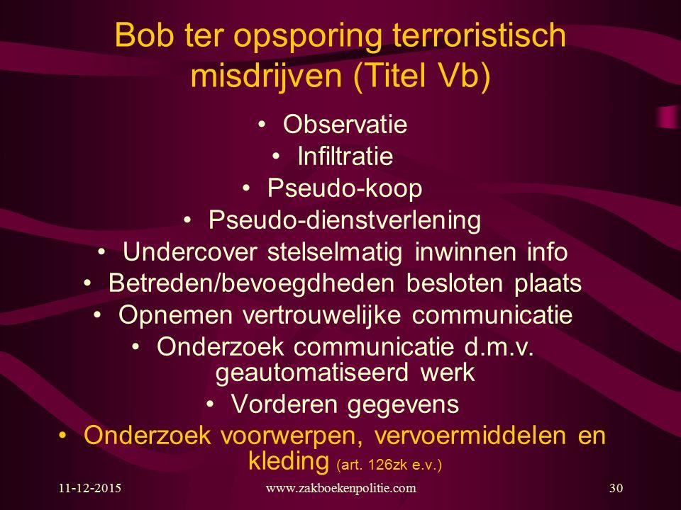 11-12-2015www.zakboekenpolitie.com30 Bob ter opsporing terroristisch misdrijven (Titel Vb) Observatie Infiltratie Pseudo-koop Pseudo-dienstverlening U