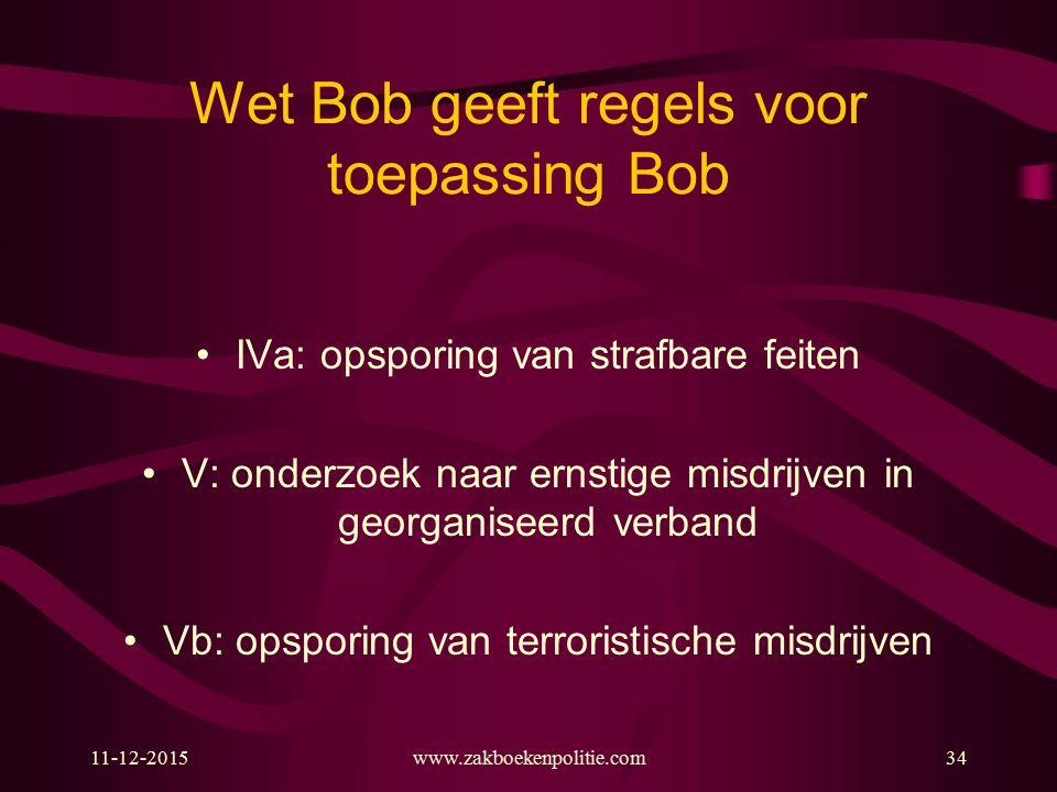 11-12-2015www.zakboekenpolitie.com34 Wet Bob geeft regels voor toepassing Bob IVa: opsporing van strafbare feiten V: onderzoek naar ernstige misdrijve
