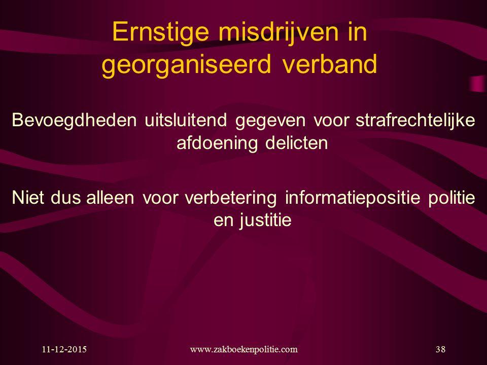 11-12-2015www.zakboekenpolitie.com38 Ernstige misdrijven in georganiseerd verband Bevoegdheden uitsluitend gegeven voor strafrechtelijke afdoening del