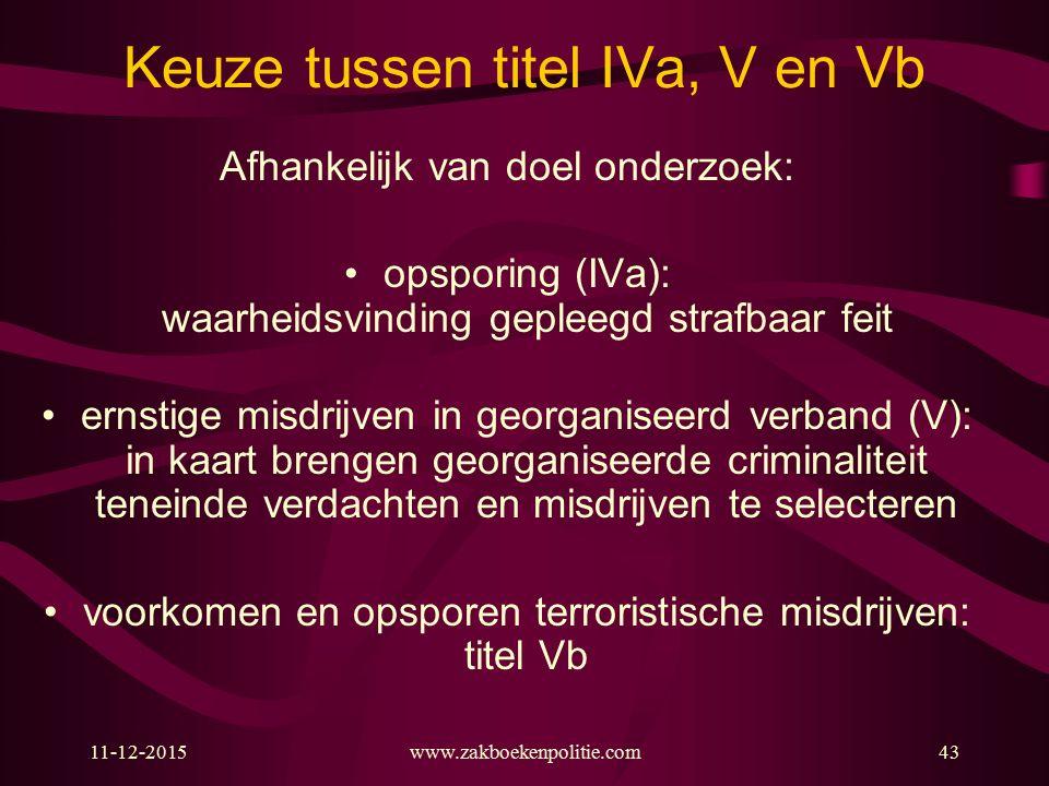 11-12-2015www.zakboekenpolitie.com43 Keuze tussen titel IVa, V en Vb Afhankelijk van doel onderzoek: opsporing (IVa): waarheidsvinding gepleegd strafb