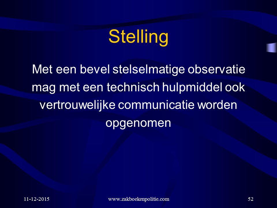 11-12-2015www.zakboekenpolitie.com52 Stelling Met een bevel stelselmatige observatie mag met een technisch hulpmiddel ook vertrouwelijke communicatie