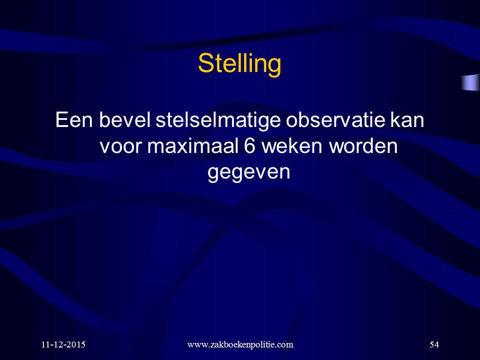 11-12-2015www.zakboekenpolitie.com54 Stelling Een bevel stelselmatige observatie kan voor maximaal 6 weken worden gegeven