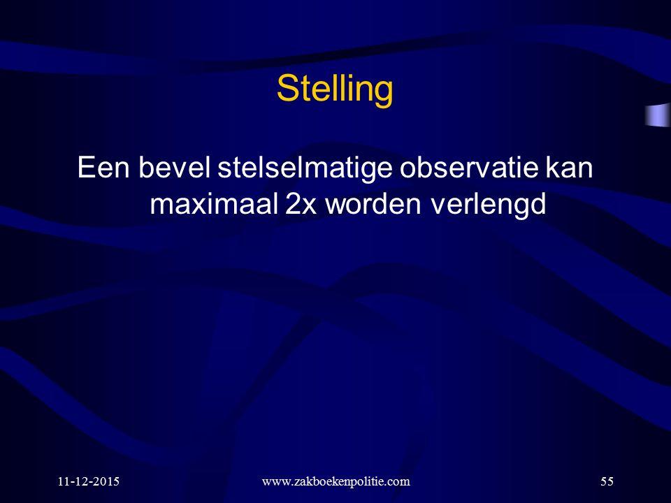 11-12-2015www.zakboekenpolitie.com55 Stelling Een bevel stelselmatige observatie kan maximaal 2x worden verlengd