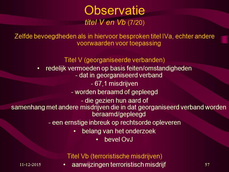 11-12-201557 Observatie titel V en Vb (7/20) Zelfde bevoegdheden als in hiervoor besproken titel IVa, echter andere voorwaarden voor toepassing Titel
